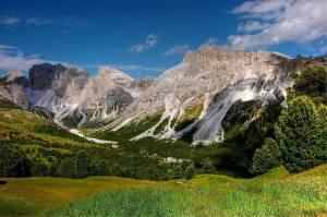 Berglandschap met grasveld